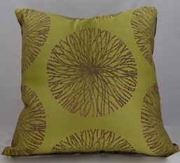 Lime and Lilac Satin Cushion