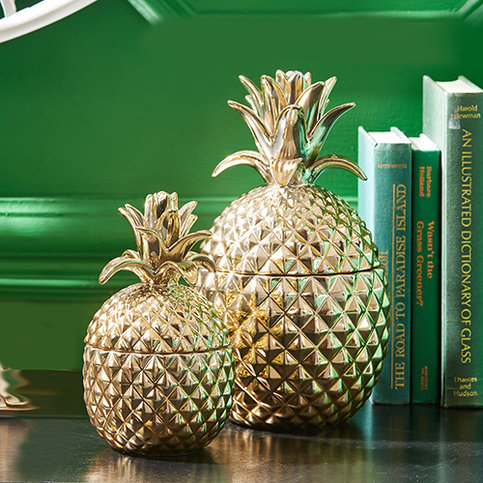 Gold pineapple jars